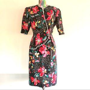 🍒VINTAGE 80s Floral Peplum Skirt Suit Set